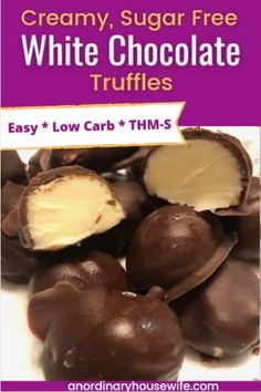 I really wanted a sugar free version of the Lindor truffles with the milk chocolate shell and white chocolate filling and these are so good! The low carb white chocolate truffle filling itself is actually very easy and there are options for the coating if you don't want to go through the dipping process. Easy and delicious Trim Healthy Mama recipe. Keto Candy THM S chocolate dessert. sugar free white chocolate Sugar Free White Chocolate, White Chocolate Truffles, Chocolate Shells, Chocolate Filling, Chocolate Desserts, Keto Candy, Mama Recipe, Chocolate Deserts