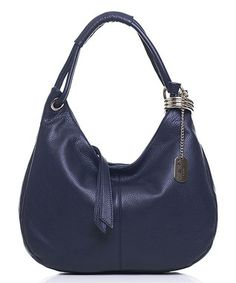 Navy Leather Crescent Hobo