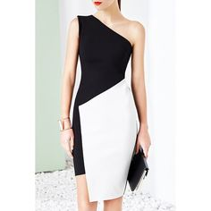 Novelty One-Shoulder Sleeveless Asymmetrical Color Block Bodycon Women's Dress — 25.67 € Size: M Color: WHITE AND BLACK