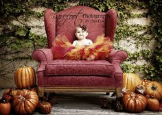 Thanksgiving Tutu - Autumn Glow - Red Gold Tutu - Custom Sewn Tutu 12'' - sizes Newborn up to 5T. $40.00, via Etsy. Yep, I wish I were still this age where I could hang around like this...wearing just a tutu!