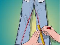 Make Skinny Jeans - wikiHow (I did it with my work pants, and I was successful!How to Make Skinny Jeans. For a long time, skinnies have been out of fashion and hardly seen. Looking for the right pair of skinny jeans can be time wasting, frustrating, Diy Jeans, Sewing Tutorials, Sewing Projects, Sewing Patterns, Sewing Stitches, Sewing Tools, Sewing Pants, Sewing Clothes, Techniques Couture