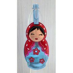 Luggage tag Babushka blue   #russiandoll #matryoshka #dollsindolls #decor #traditional #kids #toys #handmade