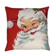 """Comi Vintage Christmas Jolly Santa Clau Square Pillowcase Cushion Cover Case 18"""" X 18"""""""