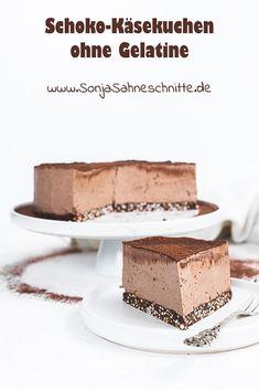 Diese Rezept für Schoko-Käsekuchen ohne backen müsst ihr probieren! Die Schoko-Creme zusammen mit dem knusprigen glutenfreiem Boden ist ein absoluter Schokotraum! Und dazu kommt dieser Käsekuchen auch noch OHNE Gelatine aus! #sonjasahneschnitte #schoko #Käsekuchen #ohnebacken Nougat Torte, Gelatine, Dessert, No Bake Cake, Card Holder, Baking, Party, Food, Gluten Free Recipes