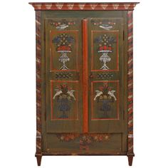 18th Century Painted Dower Armoire from Alsace Lorraine | From a unique collection of antique and modern wardrobes and armoires at https://www.1stdibs.com/furniture/storage-case-pieces/wardrobes-armoires/