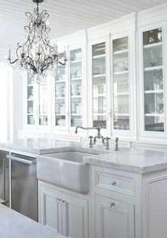 Stunning white-on-white kitchen.