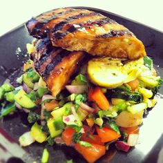 Teriyaki chicken over an Israeli salad for lunch.  Follow my instagram for more low cal meal ideas! @robolikes