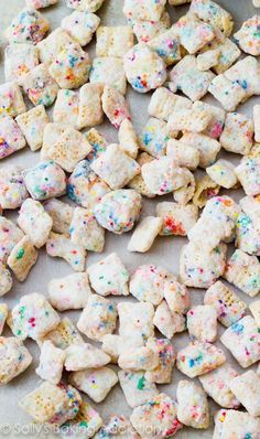 Addicting snack mix that tastes like cupcake batter! Made without cake mix. /sallybakeblog/