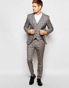 Selected+Homme+Exclusive+Brown+Heritage+Check+Suit+in+Skinny+Fit+