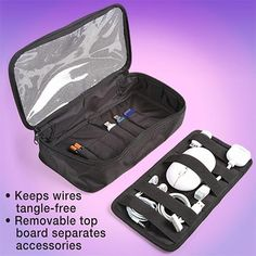 Travel Accessories Organizer Neatnix® Ready-2-Go tech travel bags feature well laid out interiors with elastic straps for neatly sorting and securing small electronic devices and their accessories - USB cables, power cords, ear buds, adapters, mouse - without tangles or clutter.