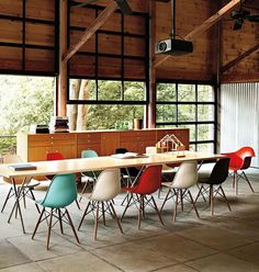 modern + rustic meeting room / dining love everything but the color of the chairs