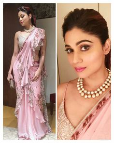 Bollywood Celebrities Inspired Ruffle Saree Trend - 2019 Bollywood Latest Ruffle Saree Trends Shamita Shetty in Varun Bahl Creation, Drape Sarees, Saree Draping Styles, Saree Styles, Dress Indian Style, Indian Dresses, Lehenga, Anarkali, Saree Jackets, Modern Saree