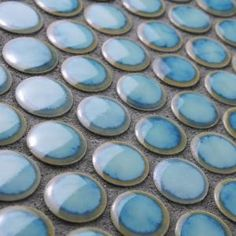 e7a9b6d9242b Atlantis Leaf Blue Glossy and Iridescent Glass Tile in 2019