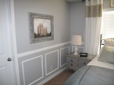 update master bedroom with two-tone wainscoting, Little Miss Penny Wenny on Remodelaholic