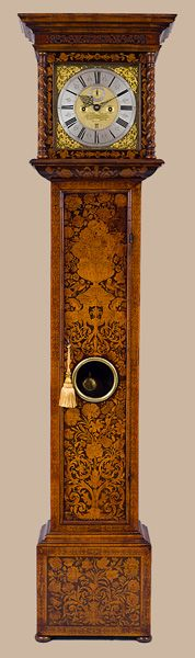 Antique Longcase Marquetry Clock By Peter Garon of London is recorded - born circa 1673, apprenticed in 1687 to Richard Baker.Granted freedom of the City by the Lord Mayor and made a Freeman of the Clockmakers Company in 1694.Known to have been taking apprentices in 1697.