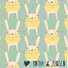 { Rotina e Rabisco } - Oi, essa gracinha de coelho veio desejar boa noite. Beijos pra vcs ❤ #rotinaerabisco #porumarotinamaisleve #coelho #pattern #papelcraft #ipanema