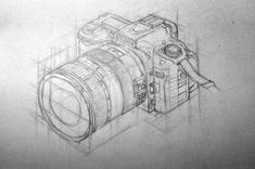 Nikon drawing in isometric perspective Perspective Drawing Lessons, Perspective Sketch, Camera Drawing, Camera Art, Structural Drawing, Technical Drawing, 3d Drawings, Drawing Sketches, 3d Drawing Techniques
