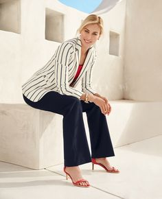 Nautical Stripes Blazer - Talbots Thank goodness; finally something with the stripes going in the right direction! Slacks For Women, Suits For Women, Clothes For Women, 60 Fashion, Plus Size Fashion, Covet Fashion, Pretty Outfits, Stylish Outfits, Slacks Outfit