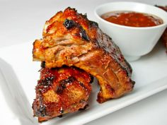 Grilled Baby Back Ribs with Garlic Ginger BBQ Glaze.  Ooo fancy ribs!