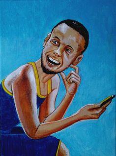 "#funblueday"" ©GN 2017; 12 x 9 in; acrylic, pencils, ink & oil on canvas.  #StephCurry #GoldenStateWarriors #smartphone #painting #art #pintura #arte #contemporaryart     http://gabrielnavar.com"