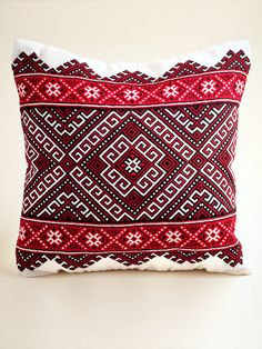 Hutsul Emroidered Pillow with white background