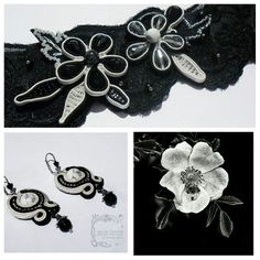 """""""Nocturne"""" earrings and for hair. Black and white. Soutache jewelry by Yulia Ozmen"""