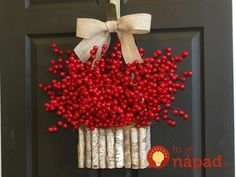 fall wreaths autumn wreath summer wreath red pip berry berries wreaths front door decor birch bark decorations red berry wreath by aniamelisa on Etsy Autumn Wreaths, Holiday Wreaths, Christmas Decorations, Holiday Decor, Wreath Fall, Spring Wreaths, Holiday Quote, Thanksgiving Wreaths, Red Berry Wreath