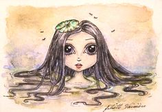 """Lotus"" Original ATC (artist trading card) 2.5""x3.5"". Watercolor and ink."