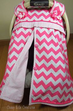 Pink and White Chevron Baby Car Seat by classykidscreations