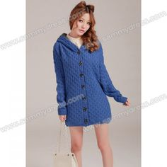 Relaxed Thicken Long Sleeved Hooded Cable Knit Cardigan For Women (BLUE,ONE SIZE) China Wholesale - Sammydress.com
