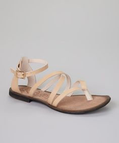 Look at this #zulilyfind! Beige Bella Leather Sandal #zulilyfinds