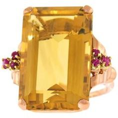 Retro Citrine and Ruby Set Gold Ring