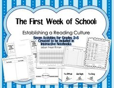 Hit the ground running the first week of school with these seven activities that help create a culture of reading in your classroom. These worksheets and foldables can be easily pasted into the students' interactive notebooks and serve as a great resource that they can use again and again.