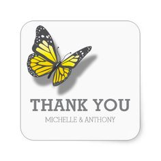 Yellow Gray Butterfly Wedding Favour Stickers