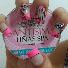 Uñas lindas J Nails, Nail Manicure, New Nail Art, Cute Nail Art, Hello Nails, Vintage Nails, French Tip Nails, Flower Nail Art, Toe Nail Designs