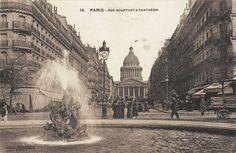 La rue Soufflot en direction du Panthéon, vers 1900.