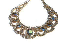 Formal Vintage Necklace with Aurora Borealis & White Rhinestones in Scalloped Gold Tone Frame - Evening Vintage Costume Jewelry