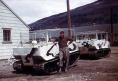 US M29 amphibious tracked vehicles.