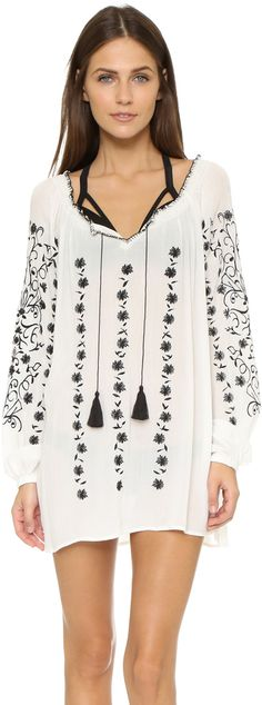 Tory Burch Embroidered Crinkle Gauze Top #toryburch #black #white #boho #coverup