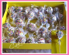 CAKE POPS - INDIVIDUALLY WRAPPED - FIRST COVERED IN CHOCOLATE AND SPRINKLES !