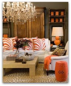 orange decor modern home design ideas beautiful vignette Decor Room, Living Room Decor, Living Spaces, Living Rooms, Family Rooms, Decoration Inspiration, Room Inspiration, Home Decoracion, Diy Décoration