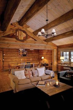 Log Home Interior Design - Excellent log home interior design gives physical as well as emotional satisfaction. Develop relationships in your house in between room, light as well as line. Log Home Decorating, Interior Decorating, Log Decor, Log Cabin Living, Log Home Interiors, Tiny Living Rooms, Log Home Plans, Boho Home, Loft