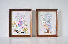 Holly Hobbie Crewel Wall Hanging Pair by thewhitepepper on Etsy, $32.00