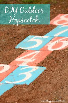 DIY Outdoor Hopscotch from It Happens in a Blink- Use outdoor pavers to create a custom outdoor hopscotch
