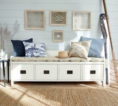Focal Point Storage Bench... with Beach Theme Decor around it! Featured on Beach Bliss Designs: http://www.beachblissdesigns.com/2017/05/focal-point-storage-bench.html