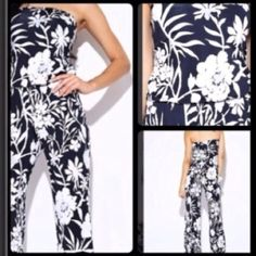 Black & White Jumpsuit. Made in USA! Price Firm. Super comfy! One piece strapless jumpsuit, looks cute belted or not. Dress it up or wear it casual, either way you will be right on trend. Other