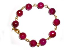Handmade Bracelet with Rose Red Agate Faceted by twolittlefairie