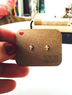 Teeny Tiny Cross Earrings | www.endeis.nl