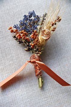 Copper and Lavender Boutonniere or Corsage with Copper Spirals and Ribbon Wrapped Stems