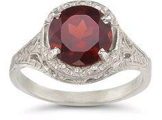 Vintage Floral Garnet Ring in 14K White Gold Gemstone Jewelry $625.00
